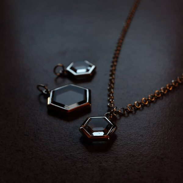 Hexagonal Quartz and Silver Pendant