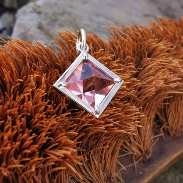 Faceted Pink Fluorite Pendant
