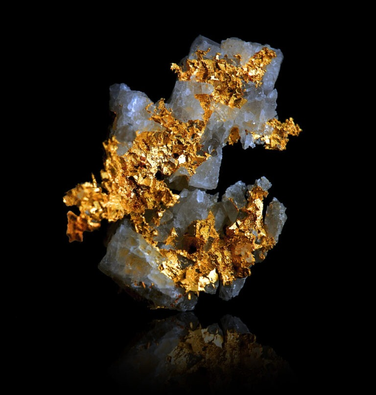 Native Gold on Quartz from Busson, Italy