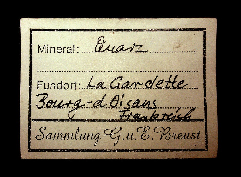 Old cllection label with Quartz from La Gardette