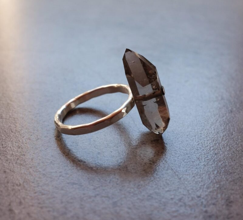 Smoky quartz and silver ring