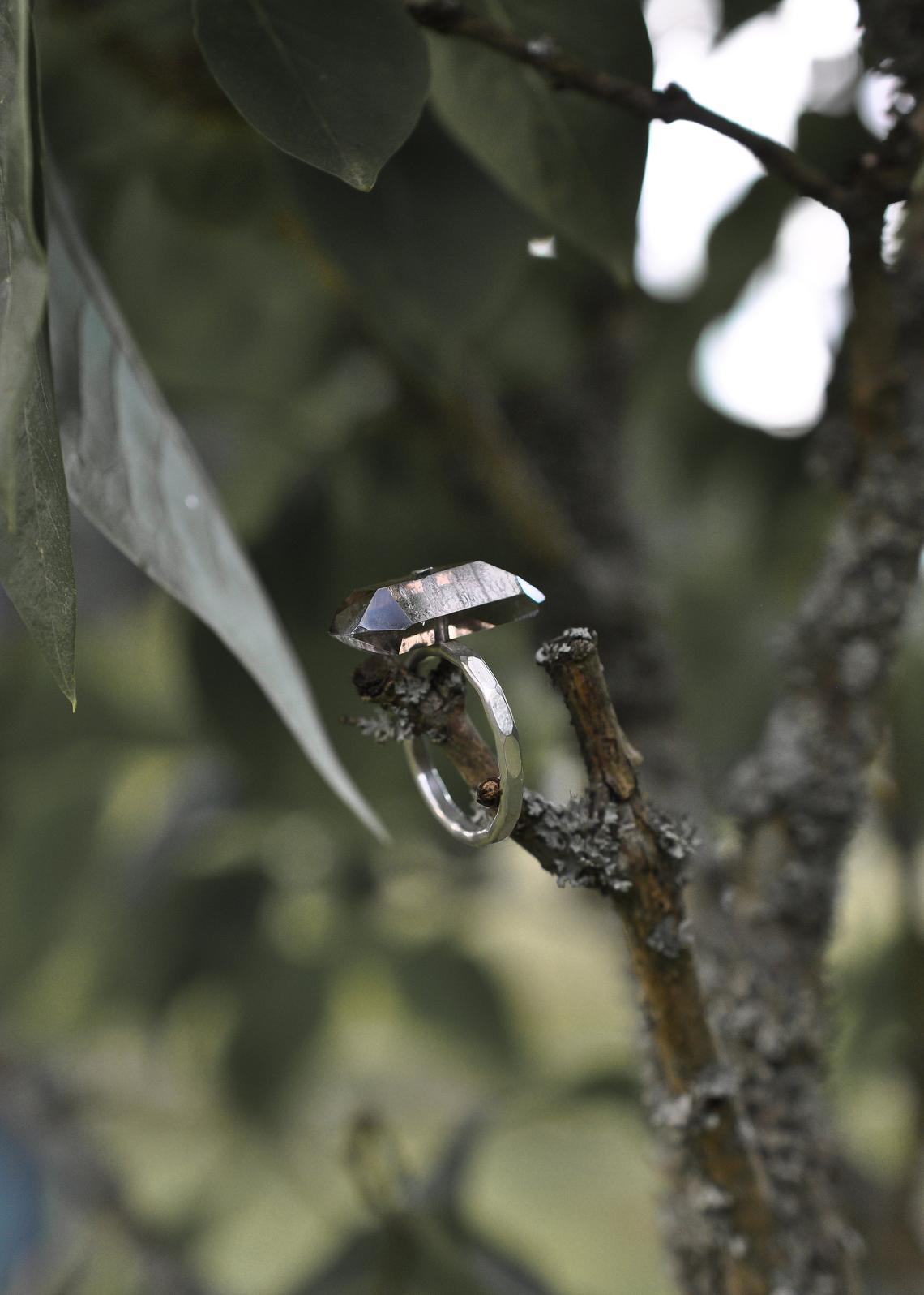 Smoky quartz and silver ring